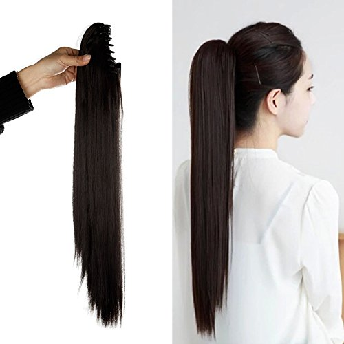 [Synthetic Claw Ponytail Heat Resistant Handy Jaw Pony Tail One Piece Long Straight Soft Silky for Women Lady Girls 21'' / 21 inch (dark] (2016 Womens Halloween Costumes Diy)
