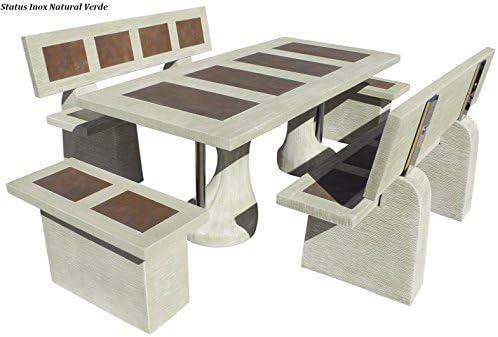 Conjunto Mesa Comedor Jardin DE Piedra Artificial con Fibra Y ...