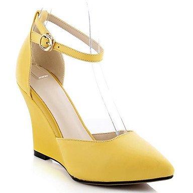 LvYuan-GGX Damen High Heels PU Sommer Weiß Schwarz Gelb Flach Weiß us6.5-7   eu37   uk4.5-5   cn37