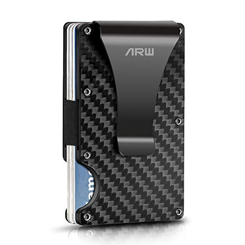 Carbon Fiber Wallet, Metal Money Clip Wallet, RFID Blocking Minimalist Wallet for Men INNKER Black Aluminum Slim Cash Credit Card Holder for Front Back Pants Pocket Carry (2019 New Version)