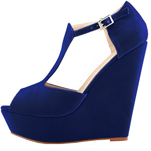 Scarpe Con Eks blau Blu Tacco Donna wildleder FqTgT8dw