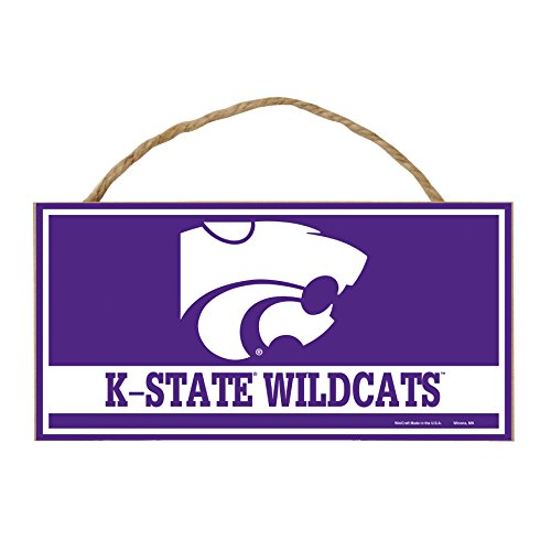 NCAA Kansas State Wildcats Hardboard Wood Signs with Rope, 5 x 10-Inch, Multi
