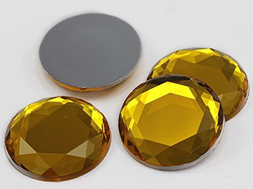 Allstarco 30mm Gold Topaz H107 Large Flat Back Acrylic Rhinestones, Lead Free. Pro Grade - 6 Pieces (Gold Topaz)