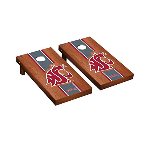Victory Tailgate Regulation Collegiate NCAA Rosewood Stained Stripe Series Cornhole Board Set - 2 Boards, 8 Bags - Washington State Cougars
