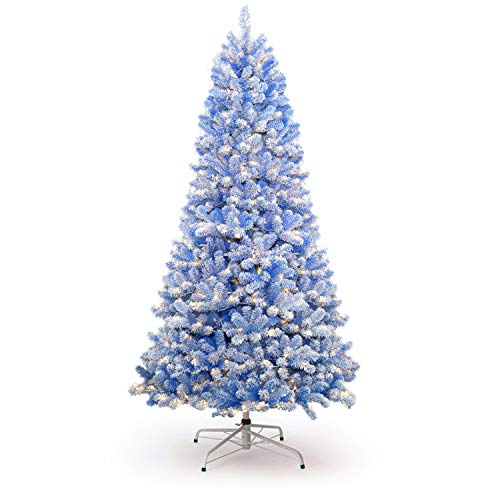 KING OF CHRISTMAS 7.5 Foot Blue Flock Artificial Christmas Tree Pre-lit with 600 Warm White LED Lights