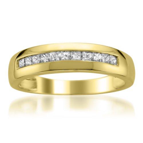 (Men's 14k Yellow Gold Princess-Cut Diamond Wedding Band (1/2cttw, I-J Color, I1-I2 Clarity), Size 9)
