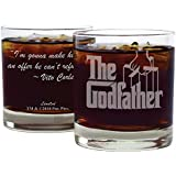 "Movies On Glass - Premium Etched The Godfather Movie Logo With Quote,""I'm Gonna Make Him an Offer He Can't Refuse"", Engraved Cocktail Glass"