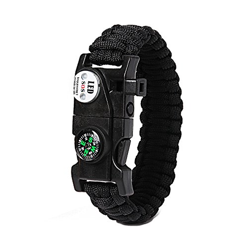 Fire Starter Flashlight (IT&Lin Survival Bracelet SOS LED Light, Firestarter, Rescue Whistle and mini Multitool Fire Starter Compass Slim Buckle Design (Black))