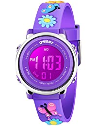 Kids Watch for Boys Girls 3D Cute Butterfly Cartoon Toddler Watch Digital Silicone Band Alarm Stopwatch Digital Child Wristwatch 50M Waterproof Purple