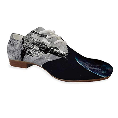 Outer Space Decor Durable Leather Shoes,Moon US Spaceman Launching on The Exploring Dark Matter Orbit Luna Design for Women,US 7 (The Three Astronauts That Landed On The Moon)