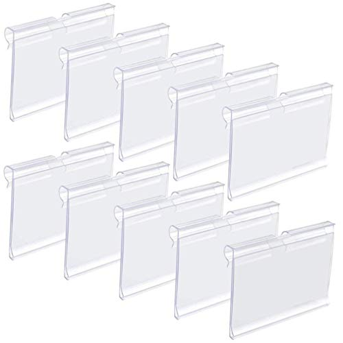 - Canomo 40 Pack Plastic Wire Shelf Price Label Holders Merchandise Display Sign Display Holder (6cm x 4.2cm), Clear