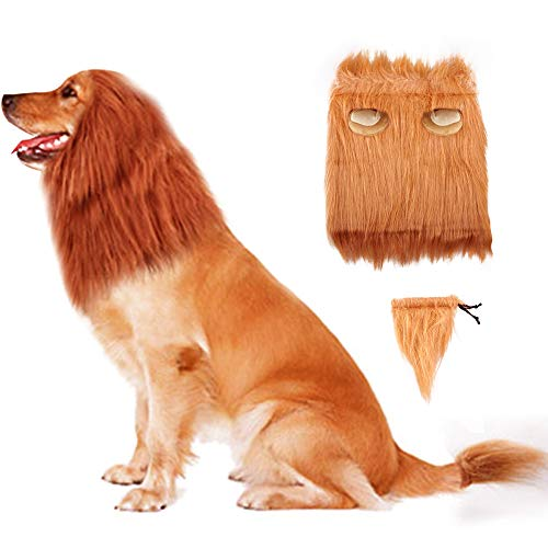 Refial Dog Lion Mane,Lion Mane Wig Costumes for Medium to Large Sized Dogs with Ears & Tail,Complementary&Funny Lion Mane Wig Hair Outfits for Holloween Holiday Party(Dark Brown,M)