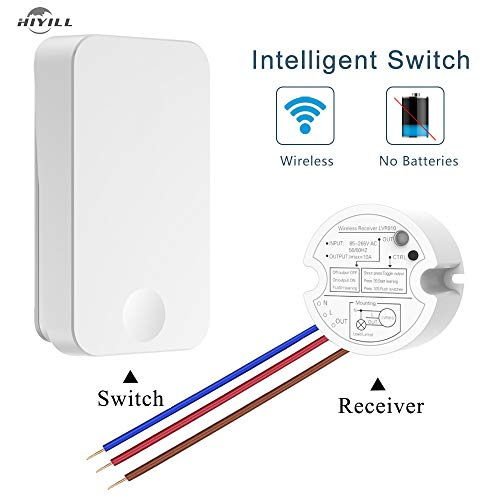 HIYILL WS4/R16 Wireless Light Switch, Wall Switch Lighting Control, Remote Operation,No Battery Self-Powered, Quick Create or Relocate On/Off Switches for Lamps Fans Appliances (Switch & ()