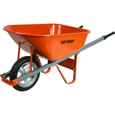 6 Cu. Ft. Wheelbarrow with Steel Handles and Flat Free Tire by True Temper