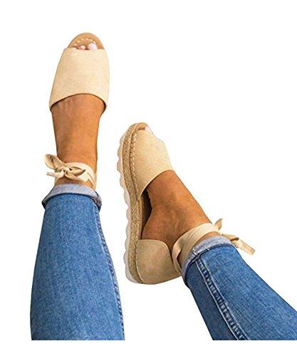 Ru Sweet Women's Summer Sexy Peep Toe Shoes Flat Lace-up Sandals (Toe Shoe Peep Sexy)