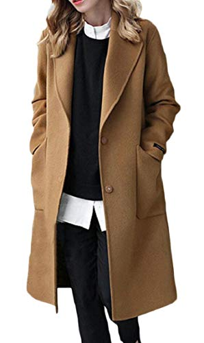 Jmwss QD Women Single Breasted Wool Blend Relaxed Fit Pea Mid Long Length Casual Trench Coat Camel XXXL