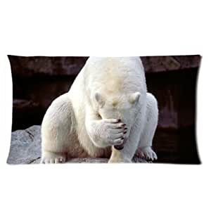 Cute Polar Bears One Side Rectangle Pillowcase Pillow Cover 16x24 Inch