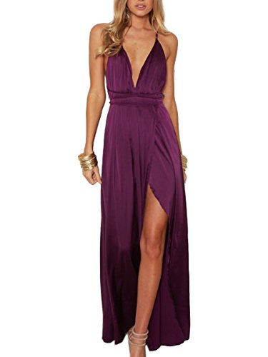 BerryGo Women's Sexy Sleeveless Backless Deep V Neck Split Satin Long Party Dress Gown Purple (Silk Satin Tie Dress)
