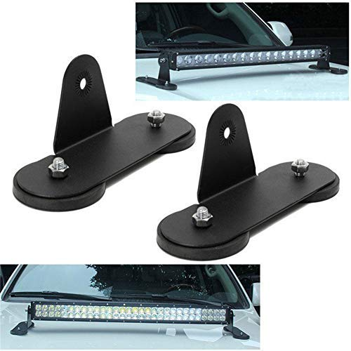 HEQIANG One Pair Magnetic Base Mount Straight/Curved LED Work Light Bar Mounting Brackets for Universal Car Truck Vehicle Windshield Hood Top Powerful Sucker Holder Roof ()