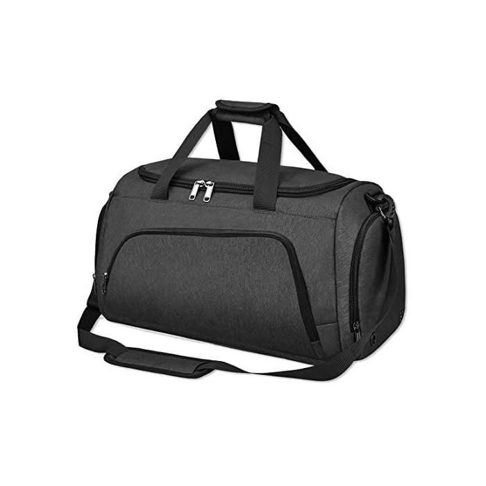 41s83ZYFAmL DURABLE & CÓMODO:Esta bolsa deportiva de gimnasio está hecha de poliéster de alta calidad, que es resistente al agua, duradera y resistente a la rotura. El funcionamiento de los compartimentos individuales es muy agradable gracias a la cremallera YKK. Asas dobles y correa de hombro acolchada ajustable para un transporte conveniente. COMPARTIMENTO PARA ZAPATOS SEPARADOS:Un compartimento separado para zapatos diseñado con forro impermeable y 2 orificios de ventilación. Mantiene las zapatillas mojadas y sucias separadas del resto de tus cosas para que puedas llevar y mantener tus zapatos mejor en nuestra bolsa deportiva. GRAN CAPACIDAD:Nuestra bolsa de viaje de fin de semana es perfecta como una bolsa de deporte de 40L. Hay mucho espacio de almacenamiento con 11 bolsillos de diferentes tamaños, incluido el compartimento principal, 2 bolsillos laterales, 2 bolsillos delanteros / traseros con cremallera y un compartimento portátil, es perfecto para mantener todo tipo de ropa, libros y artículos de viaje organizados.