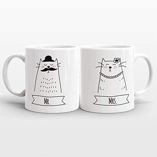 Pair of Personalised Mr /& Mrs Novelty Gift Mugs With Date