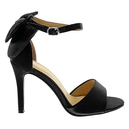 Angkorly Damen Schuhe Sandalen Pumpe - Stiletto - Schick - Knöchelriemen - Knoten - String Tanga Stiletto High Heel 10 cm Schwarz