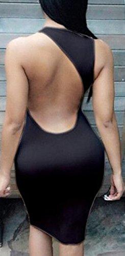 Out Bandage Bodycon Black Jaycargogo Dress Halter Cut Back Women's Clubwear 1wXIgqIax