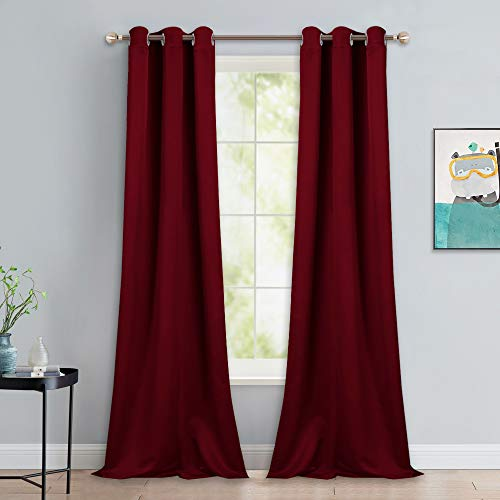 NICETOWN Burgundy Red Blackout Drapes - Window Treatment Light Blocking Privacy Curtain Panels for Home Decoration (Set of 2, 42-inch by 90-inch)