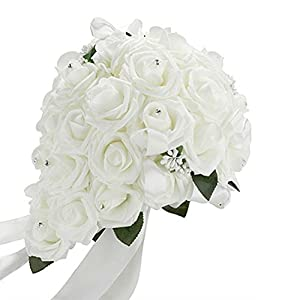 Acamifashion Crystal Roses Pearl Bridesmaid Wedding Bouquet Bridal Artificial Silk Flowers 118