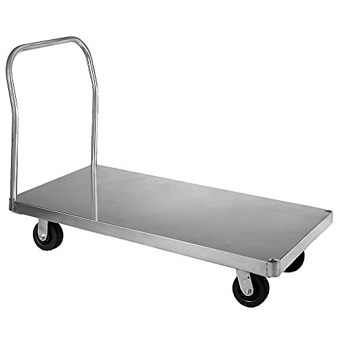 Wesco-350062-Smooth-Deck-Aluminum-Platform-Truck-Phenolic-Wheels-3000-lb-Load-Capacity-43-12-Handle-Height-72-x-36