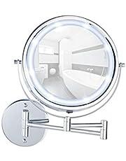 WENKO 3656530100 Power-Loc LED wandspiegel Lumi - bevestigen zonder boren, spiegeloppervlak ø 17,5 cm, 500% vergroting, staal, 25,5 x 32 x 4-35 cm, chroom