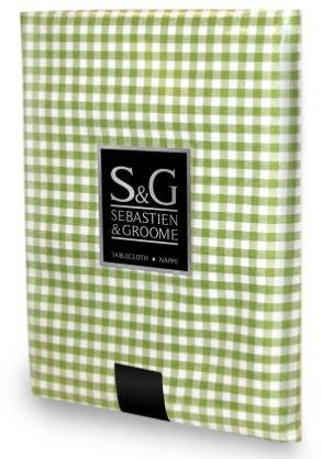 Sebastien & Groome Mini Gingham Check Tablecloth (60 inch Round, Green/Vert) - Mini Check Tablecloth