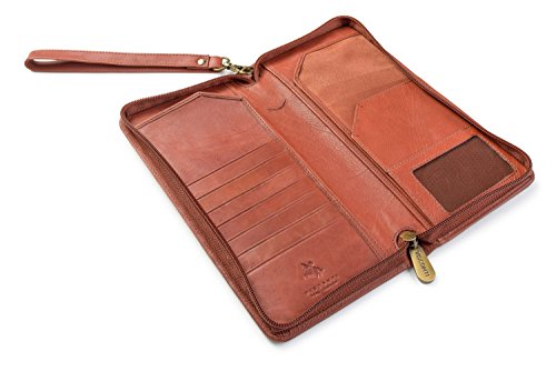 Visconti 1157 Large Leather Travel Wallet Planner for Credit Cards Tickets and Passports (Brown)