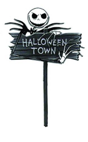 neca nightmare before christmas halloweentown wooden yard sign