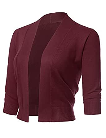 ARC Studio Women's Classic 3/4 Sleeve Open Front Cropped Cardigans (S-XL) S Burgundy