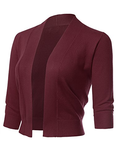 Cropped Cardigan Sweater - Women's Classic 3/4 Sleeve Open Front Cropped Cardigans (S-3XL) 1XL Burgundy