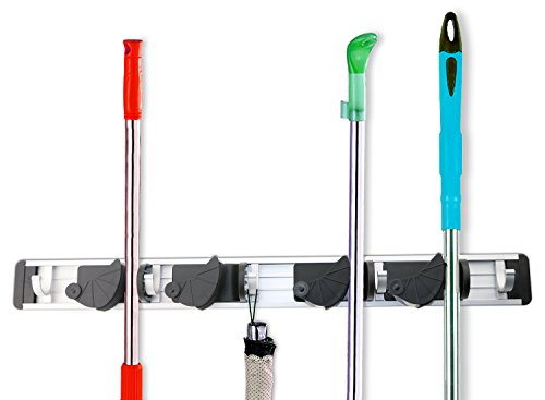 Fixget Broom Mop Holder Organizer Garage Storage Hooks Multifunctional Wall Mounted Organizer Gardening Shed Tool Rack with 4 Position 5 Hooks