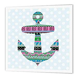 ht_112833_3 InspirationzStore Nautical Designs - Blue tribal pattern anchor on polka dot background - modern nautical sailor boat theme design - Iron on Heat Transfers - 10x10 Iron on Heat Transfer for White Material
