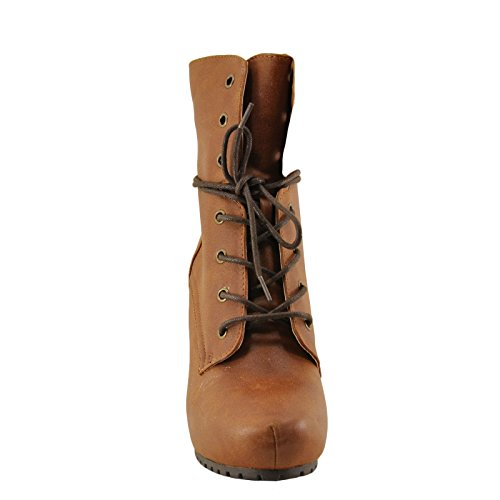 Women's Camel Almond Toe Boot Heel Lace Sotto 01 up Qupid High BqxUFvwx