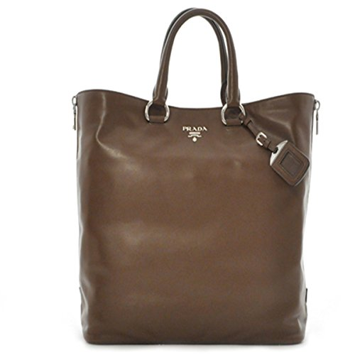Prada-Handbag-Soft-Calf-Leather-Shopping-Tote-Shoulder-Bag-BN2477-Brown