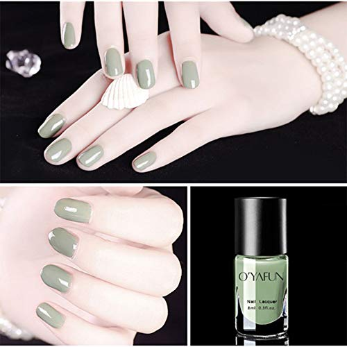 OUYAWEI 8ml Nail Polish Water-Based Peelable Mirror Effect Nude Series Polish Manicure Nail Art Tool S20 (Love Matcha) Normal Specifications