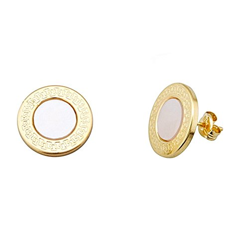 Boucled'oreille 18k ronde 12mm en or. centre nacre chantournage [AA5581]