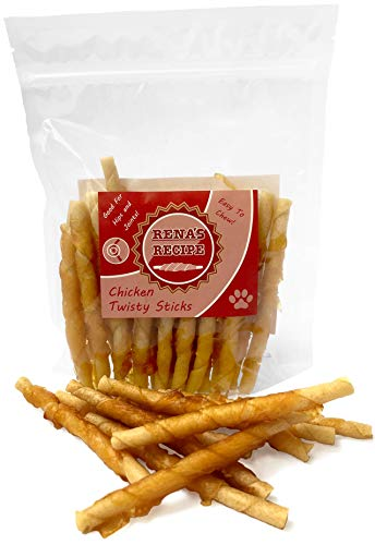 Rena's Recipe Chicken Twisty Sticks (8 oz) Rawhide Free Chicken Wrapped Soft Chews