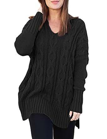 CILKOO WomensCuteOversized BlackShirtsLongSleeveSexy V NeckCable Knit ElegantKnittedPulloverSide Slits Sweater BlouseTops US4-6 Small