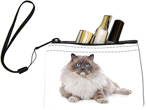 Rikki Knight Fluffy Ragdoll Cat With Bright Blue Eyes Design Keys Coins Cards Cosmetic Mini Clutch Wristlet