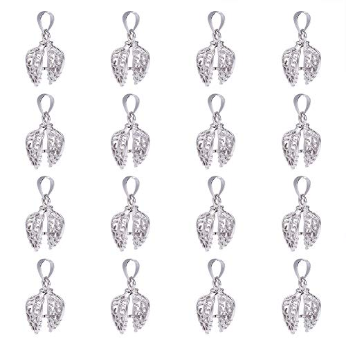 - PandaHall About 50 Pieces Brass Leaf Pinch Clip Bail Clasp Dangle Charm Bead Pendant Connector Findings Length 24mm for Jewelry Making Platinum