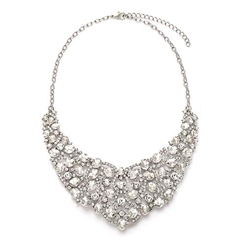 Chunky Rhinestone (VUJANTIRY Statement Vintage Crystal Choker Collar Necklace for Women Chunky Rhinestone Bib Necklace Collars Jewelry for Wedding Evening Prom Bridal Party (Silver))