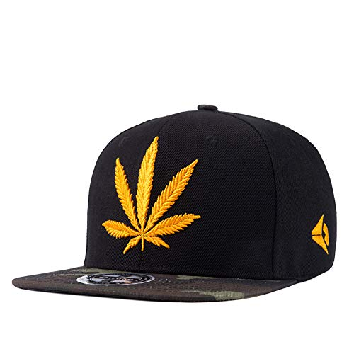 Snapback Hiphop Cap Cannabis Marijuana Weed Leaf Flat Peak Baseball Caps, Super Star Snakeskin Hip Hop Bling Unisex Hats for boy and Girl,Yellow ()
