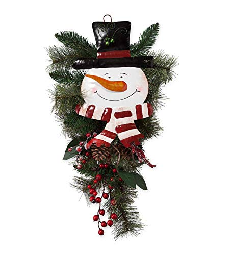 Plow & Hearth Holiday Door Swag with Snowman Face - Approx. 27.5 L x 13 W
