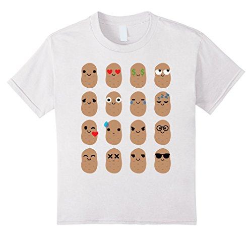 Kids Potato Emoji Shirt T-Shirt Starch Russet Tee 10 White